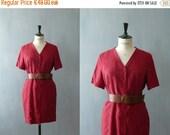 40% OFF SALE // Vintage 1980s red silk dress. Shirtwaist dress. Silk shirt dress