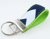 Ready to Ship – Handmade Mini Key Fob, Keychain - Navy Chevron on Lime Green (Chartreuse)