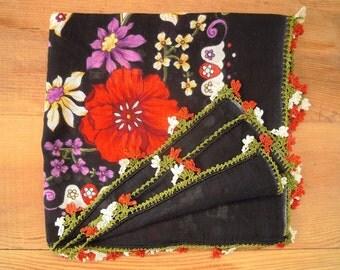 black floral scarf with crochet trim, turkish oya, cotton