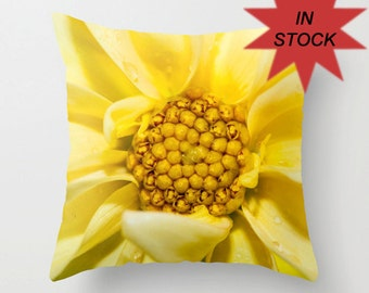 16x16 Dahlia Yellow Pillow Cover, Bedroom Cushion Case, Flower Picture, Victorian Decor, Golden Botanical Art, College Dorm Bed Accent