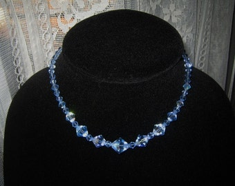 Necklace,Bling ,Glitter, Prom wear,  Mid Century, Crystal,  Blue, Aurora Borealis beads