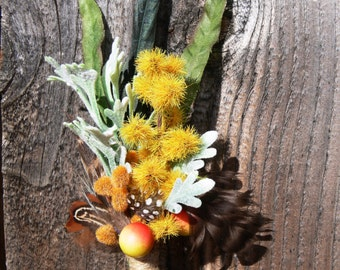 Boutonniere - Rustic - Father's Day - lapel or hat pin - Natural - Pheasant, yellow, orange berries - Ready to Ship