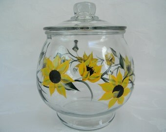 Cookie jar,Sunflower Cookie jar, Sunflowers, painted cookie jar, kitchen storage, large canister