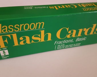 Vintage Flash Cards Basic Fractions, Homeschooling Supply, Classroom Flash Cards 100 Cards in Box, Ideal School Supply