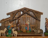 12 inch scale Paper Mache 11 peice Nativity with Manger / Stable - Italy ~ 1940 - 1970