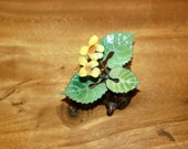 Norman Brumm & Judith Brumm, enamel on copper, Unusual Yellow Violet Flower on Burl Sculpture ~ Signed ~ Excellent Condition ~ 3rd of 3