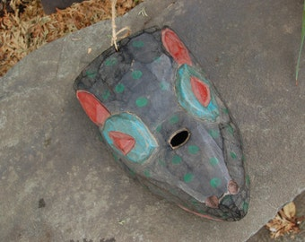 Guatemalan Folk Art hand carved Painted Wood Wolf Mask in Deep Blue, Green & Red ~ Guatemalan Dance Mask ~ Wonderful Aged Condition