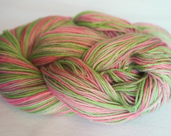 Sock Yarn, Organic Cotton and Bamboo, Hot Pink & Neon Green: Memories of the 80s