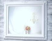 "BABY GIRL NURSERY Decor  Mirror Baby Boy Nursery - AnY CoLOR- Shabby Chic Nursery 31""x27"" Blue Pink White Ivory Lilac Framed Miror"
