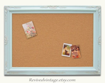 FRAMED DECORATIVE CORKBOARDS For Sale Baroque Mint Green Wedding Memo Board Shabby Chic Home Message Board Home Organizer Bridal Gift