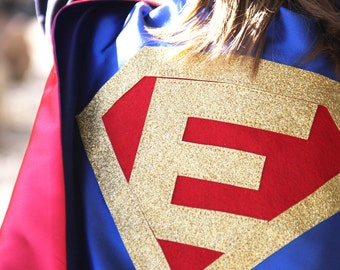 Personalized SUPERHERO CAPE Custom Gold Shield - Fast Delivery - Personalized Initial - Kid Costume - Kids Superhero Party