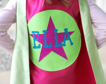 New - Personalized SPARKLE Full Name SUPERHERO Cape - Includes full name in burst design or star - Hero Party - Fast Delivery