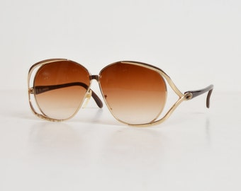 Vintage 60s 70s Oversized Gold and Brown Sunglasses / Gradient Brown Dior Style