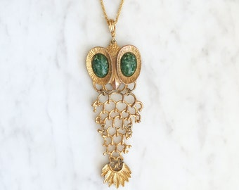 Vintage 60s 70s Large Owl Pendant Articulated Necklace