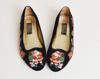 Vintage 90s PRITZI Embroidered Santa Velvet Flats / 1990s Christmas Embroidered Shoes, 8 38