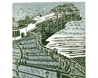 Cromer No.2 two-colour linocut print in light blue and dark green/grey