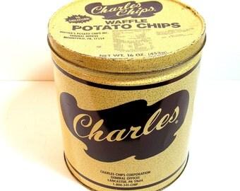 Charles Chips Vintage Tin, Potato Chips Tin