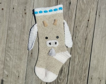 Goat Stocking,Farm Stocking,Crochet Stocking,Ranch Stocking,Ranch Christmas,Ranch Decor,Ranch Christmas Decor,Goat Decor,Goat Christmas