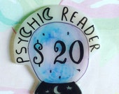 Gypsy Fortune pin, psychic reader brooch, psychic jewelry, crystal ball, crystal pin, witch pin, witchy brooch