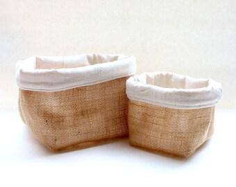 Jute Fabric Basket / Organizer / Bin / Storage