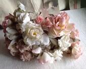 Antique Millinery Flowers 25 Pink & White Roses / Vintage Wedding Something Old Silk Flowers
