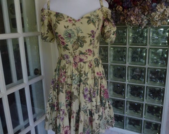 Vintage 80s 90s DBA- LA Dress Ruched off Shoulder Sleeve Tiered Full Circle Mini Skirt Floral  S Small