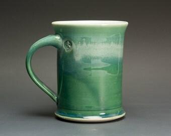Pottery coffee mug, ceramic mug, stoneware tea cup jade green 14 oz 3001