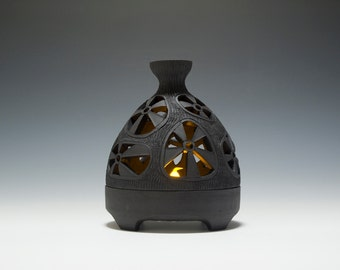 Handmade Ceramic Hobbit Tealight Candle Lantern 16-038