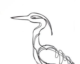 Heron Wire Sculpture, Bird Wire Art, Folk Art, 468863861