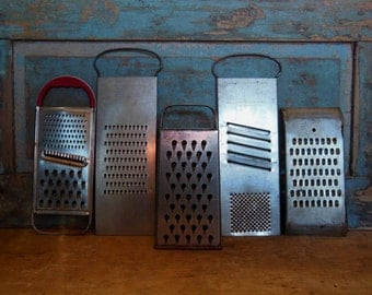Metal Graters Vintage Set of 5