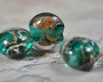 Glass beads, green, gold/silver, 14mm, #266