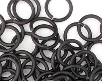 Matte Black aluminum jump rings, 16G, 2 sizes - #1010, 1011