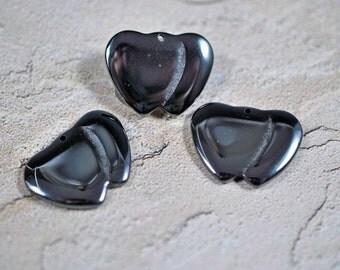 Hematite double hearts, 1 hole, 20x28mm - #194