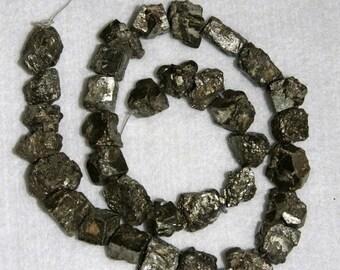 Pyrite, Pyrite Nugget, Natural Pyrite, Organic, Chunky Nugget, Half Strand, 9-14mm