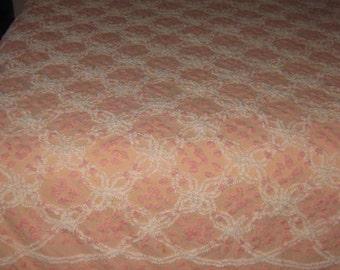 Vintage  Peach Color Tufted  Chenille Bedspread