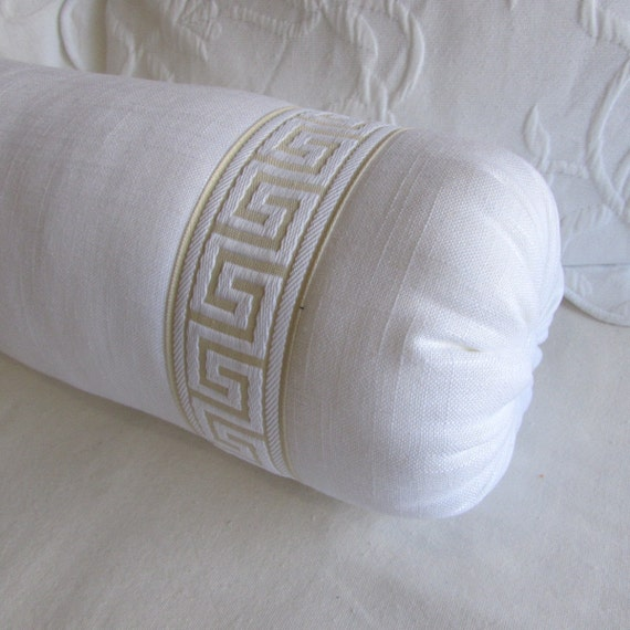 Items similar to GREEK KEY decorative bolster pillow 7x22 in white linen on Etsy