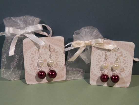 """5 Pair 1 3/4"""" Long Burgundy Pierce Earrings Choose Bead Color Pearled White, Cream, or Gray Silver Tone French Ear Wire Bride Bridal Wedding"""