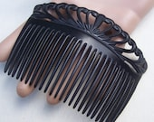 Victorian mourning hair comb black celluloid hair accessory hair jewelry hair ornament hair pick hair pin