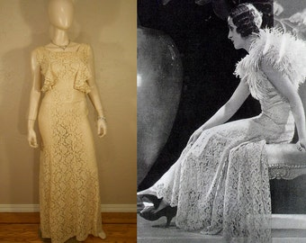 Bright Young Things We Are - Vintage 1930s Antique Ivory Lace Rayon Dress w/Plunge Back - 0/2