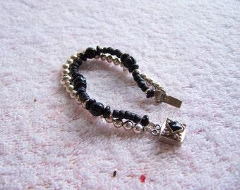 Sterling Silver Onyx Bead Double Strand Bracelet