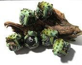 FROG Ball Hugger Lampwork Beads Focal Glass Beads Six (6) Large Frog Handmade Glass Beads Vintage Jewelry Beading Supplies (N105)