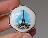 Eiffel tower trinket box tiny porcelain box vintage Paris souvenir