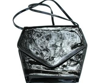 Vintage Black Faux Patent Leather Crossbody Purse Handbag