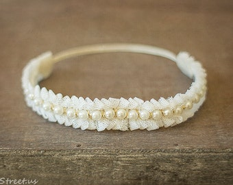 Baby Headband, Baby Crown, Ivory Lace and Pearl Crown, Baptism Headband, Baby Halo, Newborn Headband, Newborn Props, RTS Baby Headband