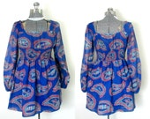 RESERVED for Reggaefvr Boho Mod Mini Dress 1960s Vintage Young Edwardian Paisley Print