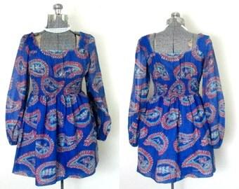 Boho Mod Mini Dress 1960s Vintage Young Edwardian Paisley Print