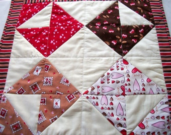 Valentine Love Letters Table Topper Quilted Handmade