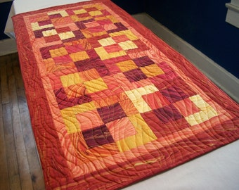 Sandscapes Table Runner Quilted Nature Sunset Metallic Gold Fall Autumn Colors Quiltsy Handmade FREE U.S. Shipping