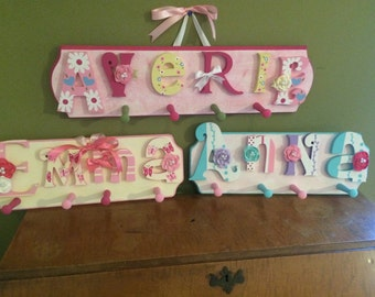 Custom Kids Hand Painted Name Sign Peg Rack - Nursery Wall Letters Name Sign with Coat Rack- Custom Children's Shabby Chic Name Plaque