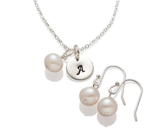Bridesmaid Jewelry Gift Set , Ivory White Pearl Earrings and Initial Necklace ,  Wedding Jewelry 925 Sterling Silver